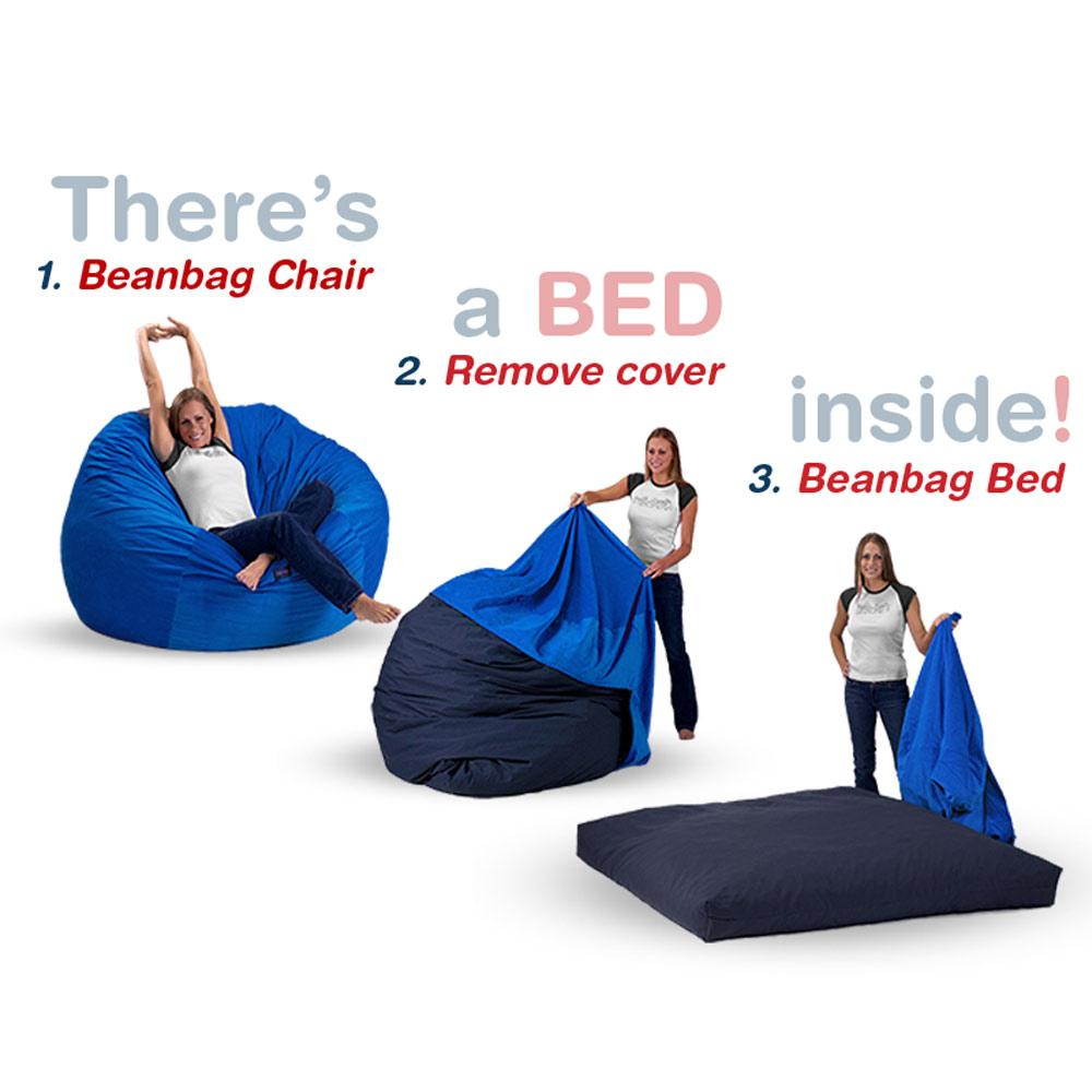 OMG! Where was this when I was in College!  Big comfy bean bags that convert into full, twin, or queen size beds. It's the new Futon. Great for space saving spare bed action.  $150+ http://bit.ly/1GkpOOK