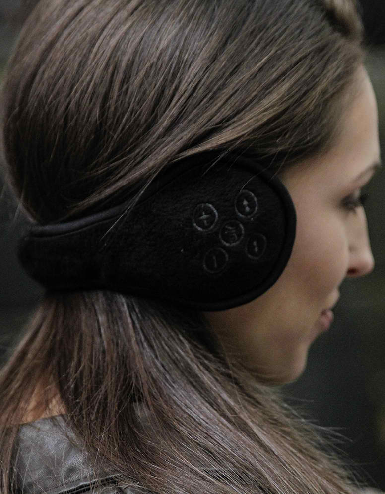 Hi-Tech wireless headphone ear muffs to keep Mom warm. Fashionable and techie! Bluetooth ear muffs with built-in headphones that stream high quality music from her phone or  portable device.  $60 1voicenyc.com