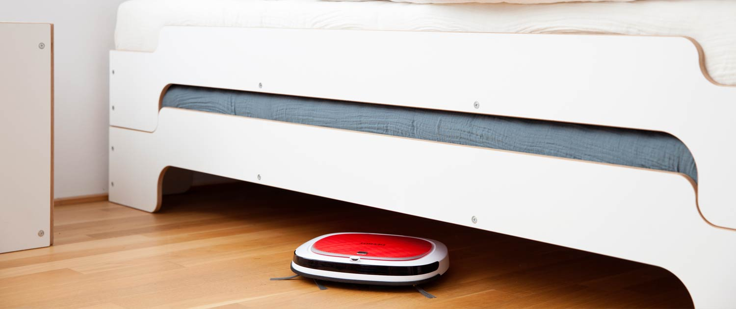 """-- Replace your kitchen broom with a robot! D35 is the first robotic vacuum designed for kitchen and bare-floor cleaning. DEEBOT 3 Series feature """"Direct Suction"""" vacuuming without a main agitator brush to tangle with human hair or pet hair. Low..."""