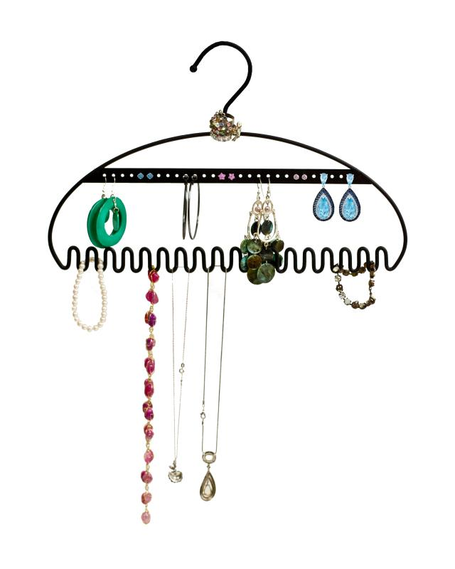 The Hang It jewelry organizer lets her efficiently store earrings (28 earring holes), necklaces, bracelets and rings.  Made out of solid steel, this sturdy hanger keeps necklaces untangled and jewelry unvarnished all while saving space. Hang in...