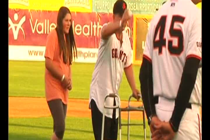 Bryan Stow throws opening pitch