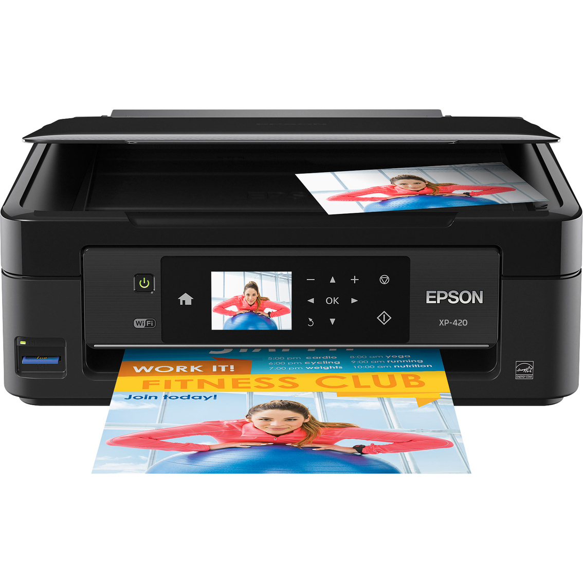 This is so compact it easily fits anywhere around the desk. But full of features. Print, fax, scan, copy, wireless etc.. The XP-420 also enables users to edit, scan and share photos directly to Facebook™ or other popular cloud services all in one...