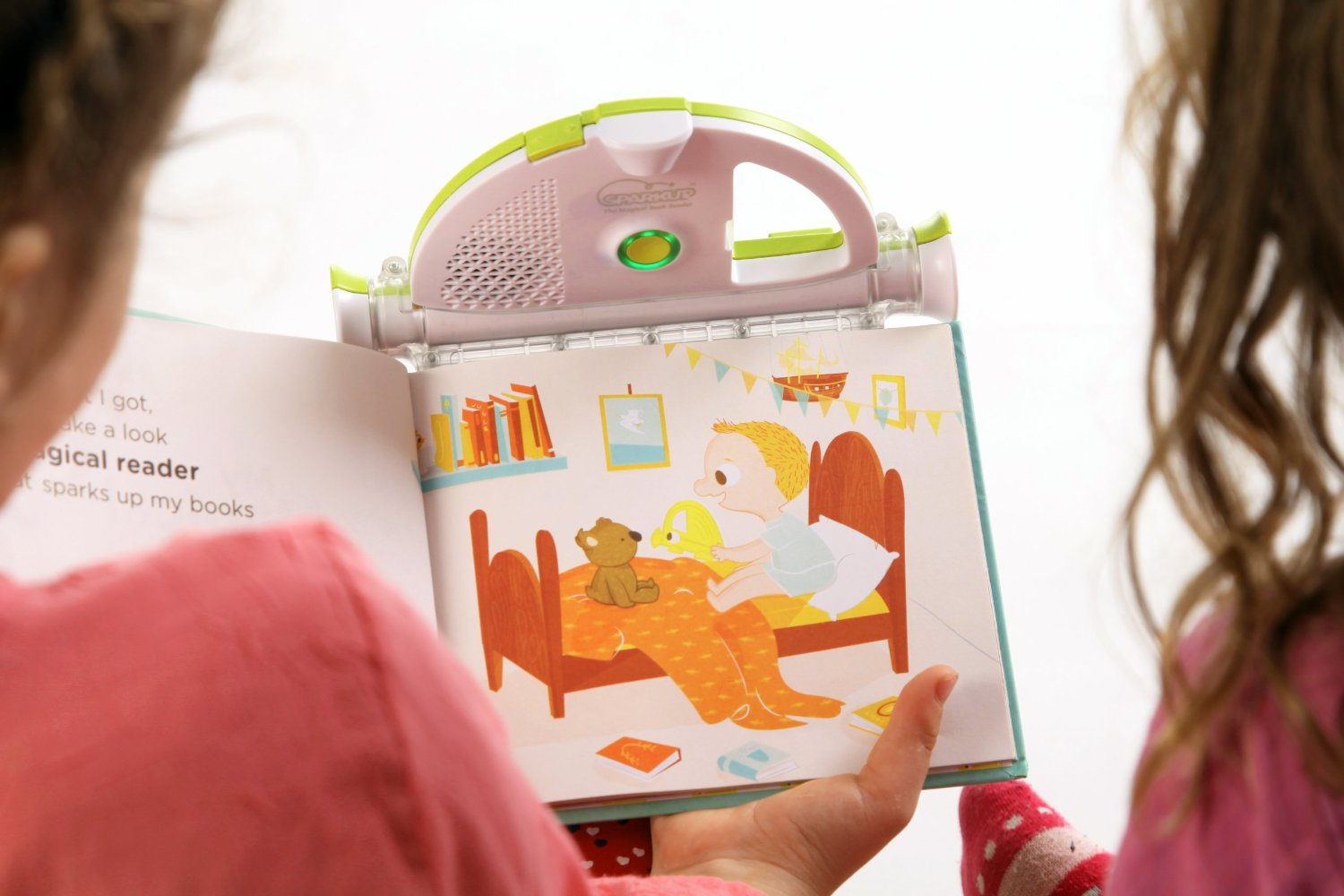 Let's Mom read a book to their kid remotely from afar. Create personalized audio recordings of any illustrated children's book. It attaches to the top of a book and records the user's voice while tracking each page via its built-in camera. ...