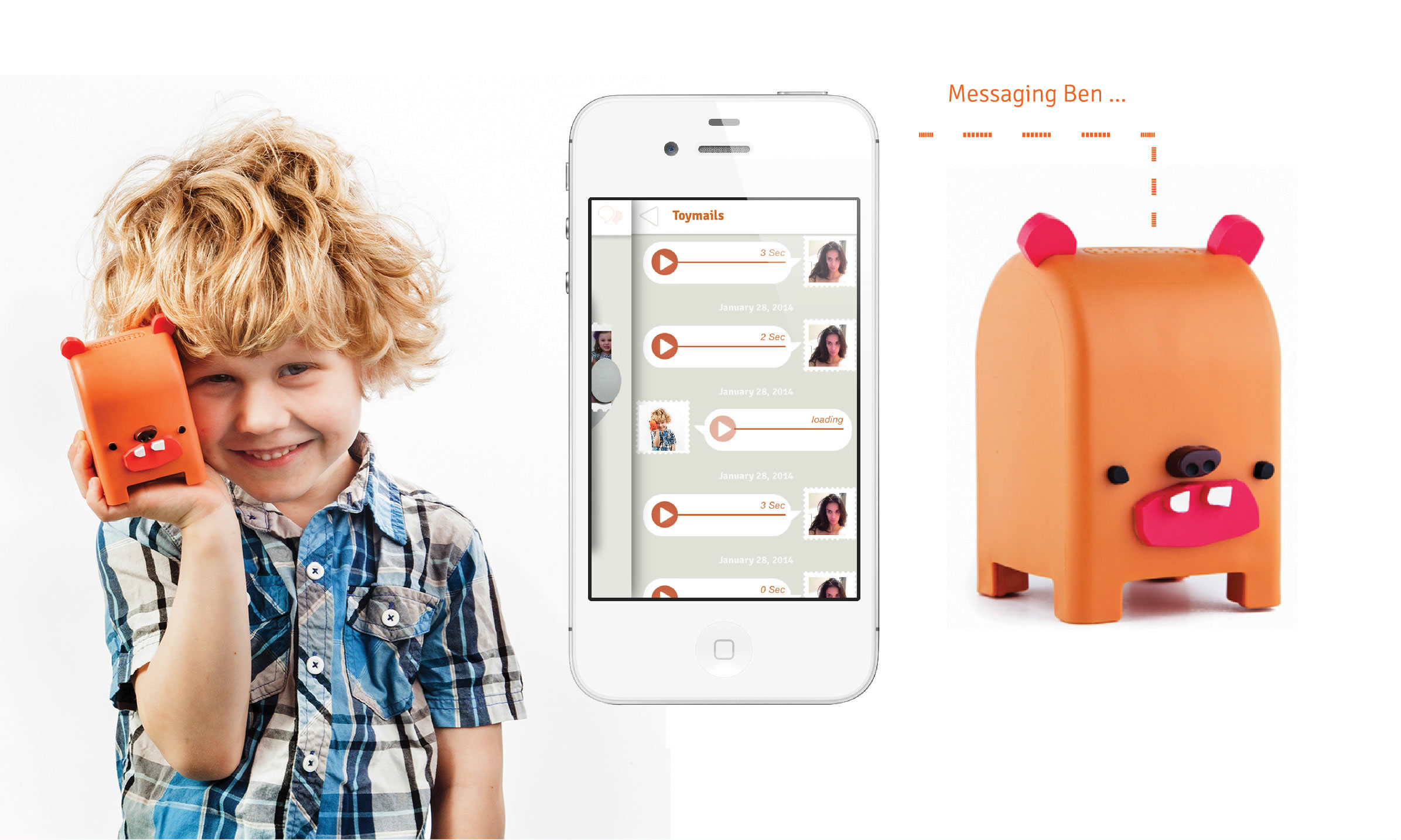 """It's like voice texting a little one in your life through a toy they play with. This lets the traveling mom interact with their kids in a whole new way. It's a high tech """"Social toy"""". The smartphone Toymail app is that lets you send/receive..."""