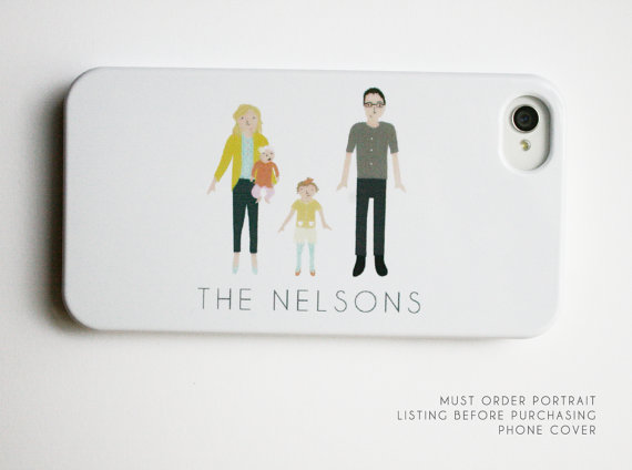 This will stand out even among customized cases! This handmade colorful, not-too-fussy illustrative style creates a unique image that looks sweet, casual, of your family.  $30 http://etsy.me/1OfBmXF
