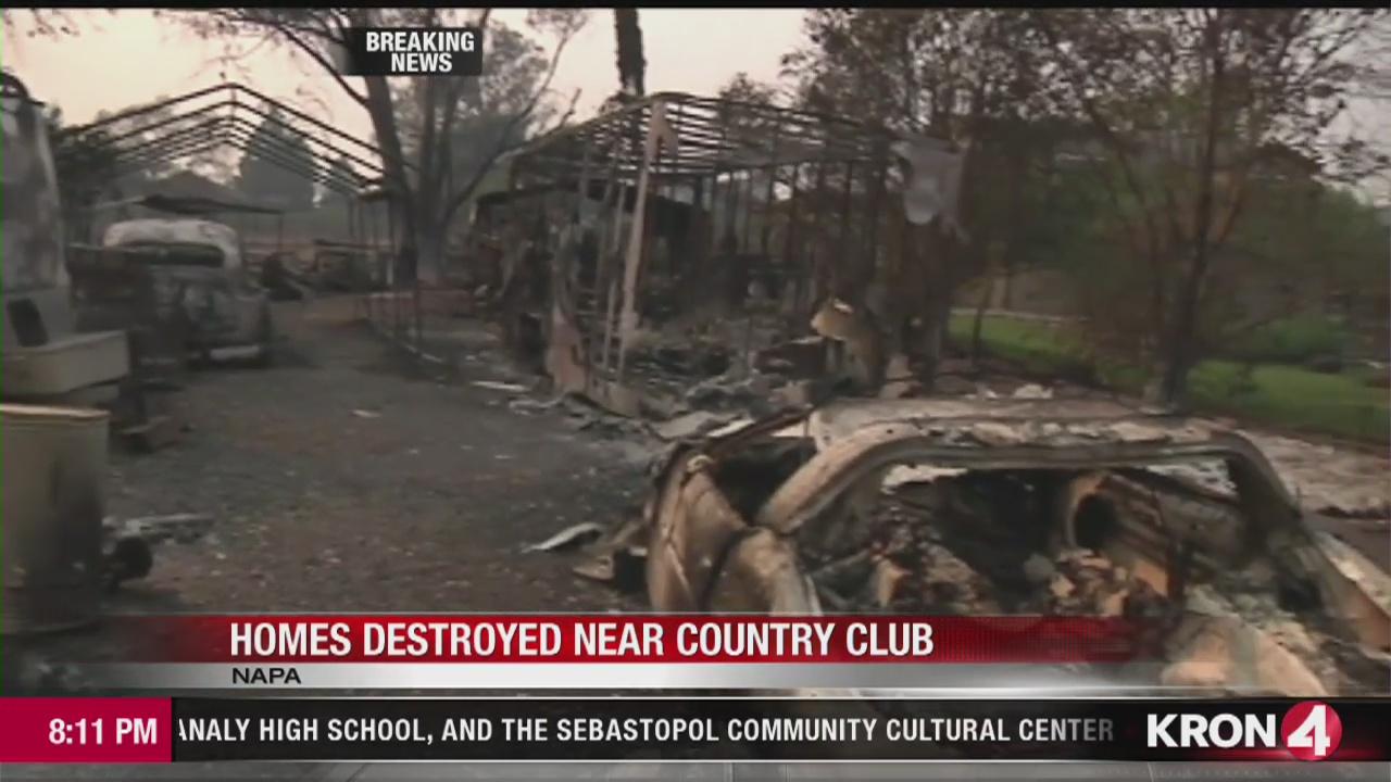 VIDEO REPORT: Massive fire destroys homes near Napa country club