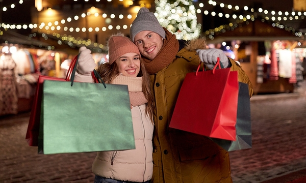 holidays, christmas and people concept - happy couple at with sh_667177