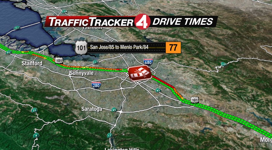 Accident involving motorcycle, 6 cars blocks lanes on US-101