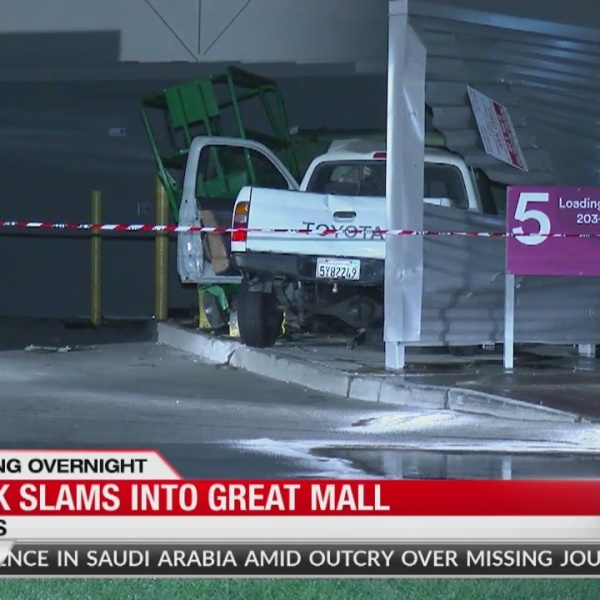 Truck slams into Great Mall in Milpitas