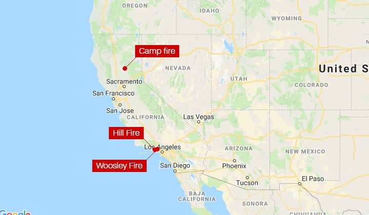 Hill Fire California Map.3 California Wildfires Destroy Thousands Of Structures And Force