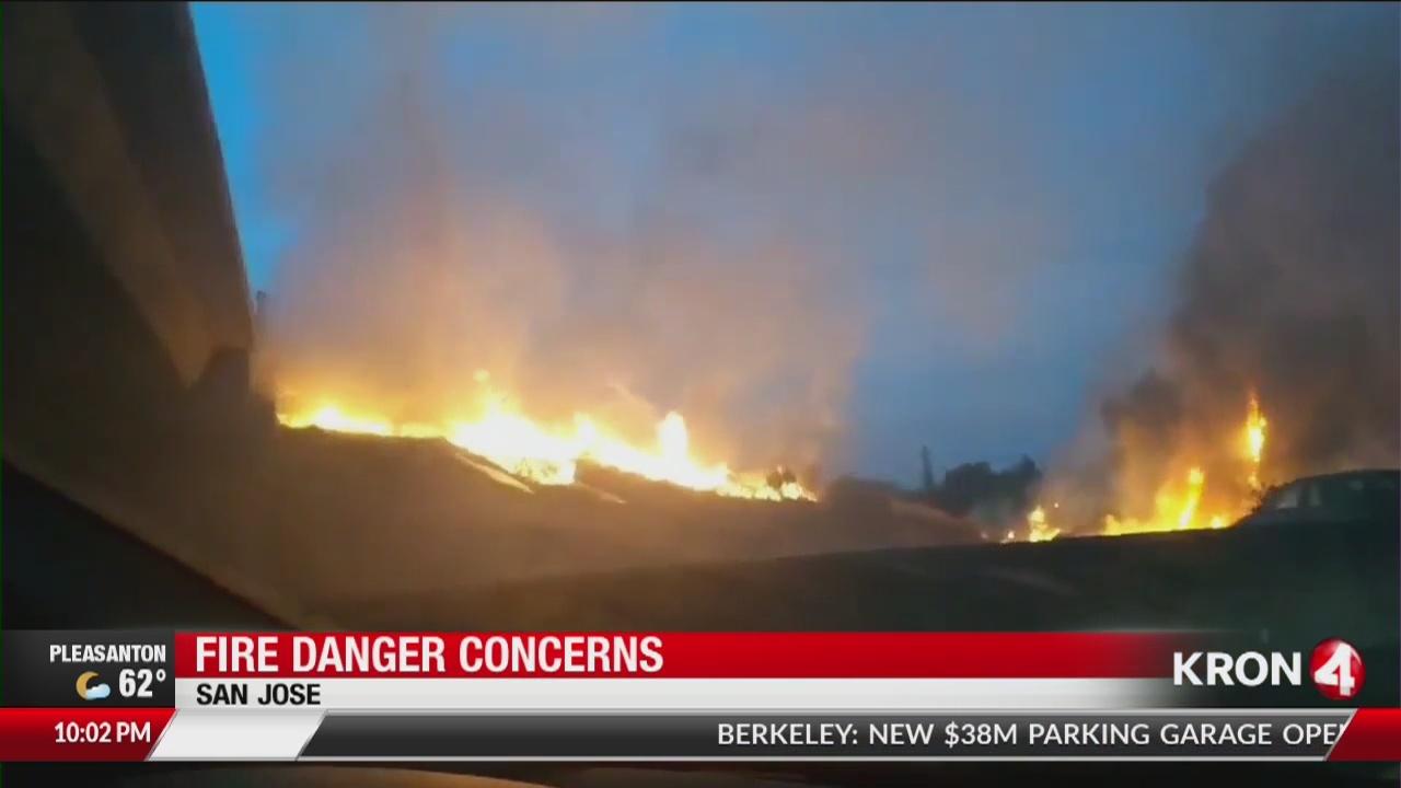 Brush fire shuts down SB I-880 in San Jose