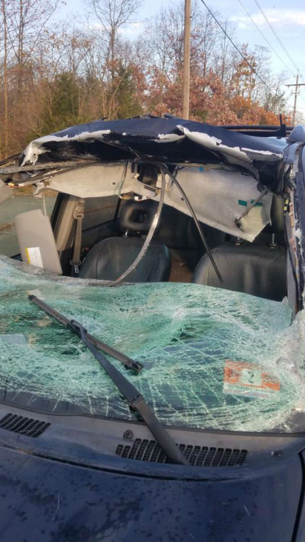 PHOTOS: Airborne deer smashes through woman's windshield