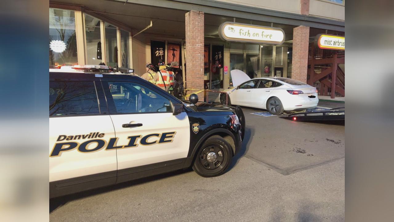 tesla crashes into danville restaurant
