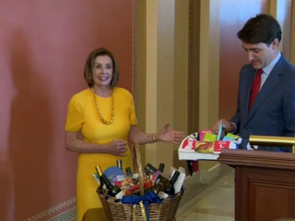 Pelosi, Trudeau settle NBA bet with chocolate, wine & swag