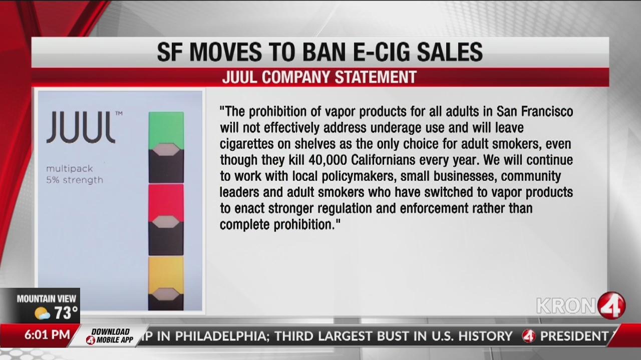 San Francisco closer to ban on e-cigarette sales