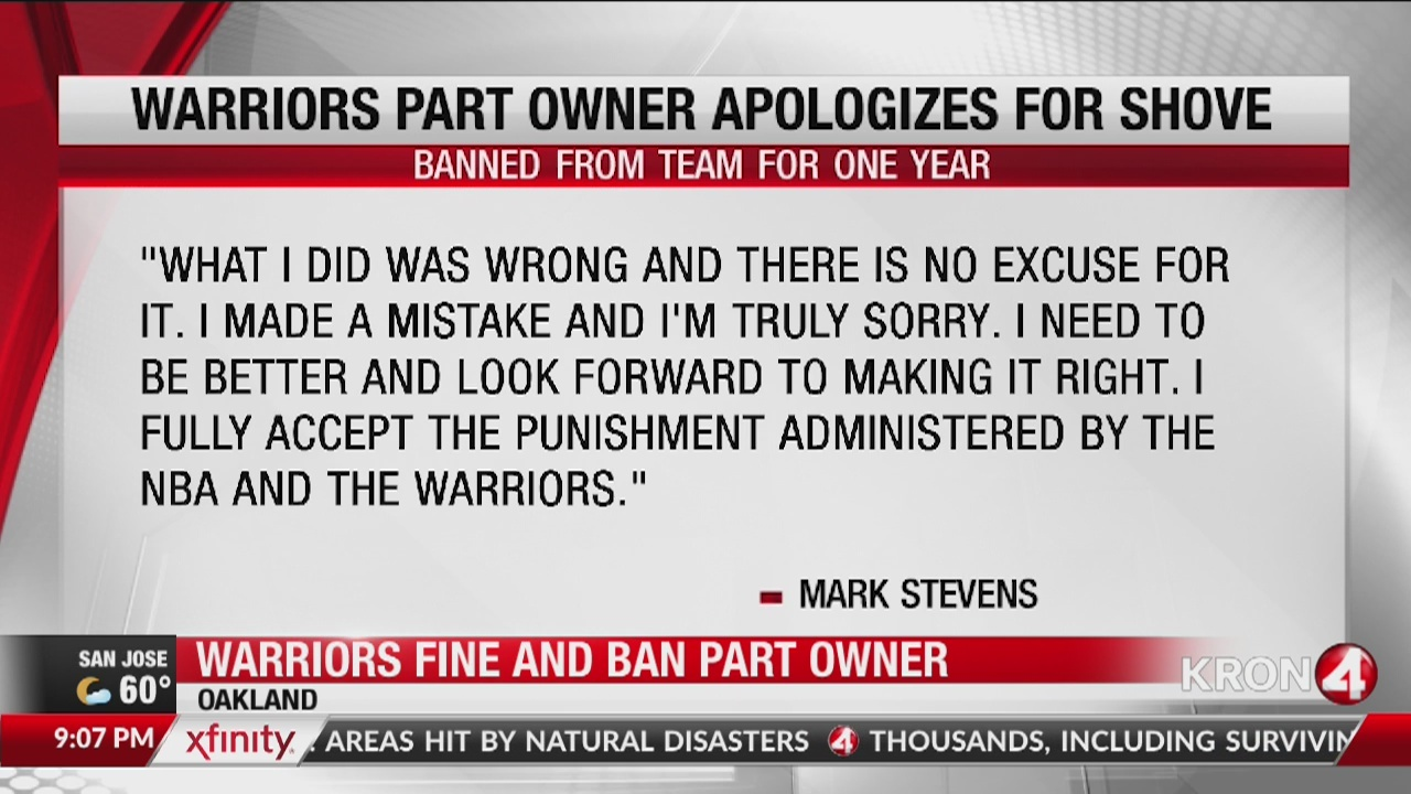Warriors part-owner says he's sorry, embarrassed