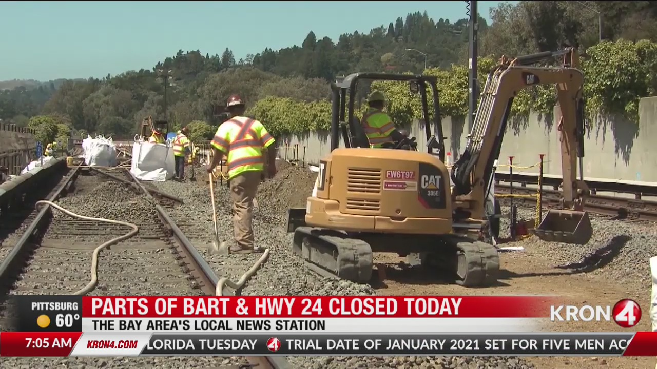 Parts of BART, HWY 24 closed due to track repairs | KRON4