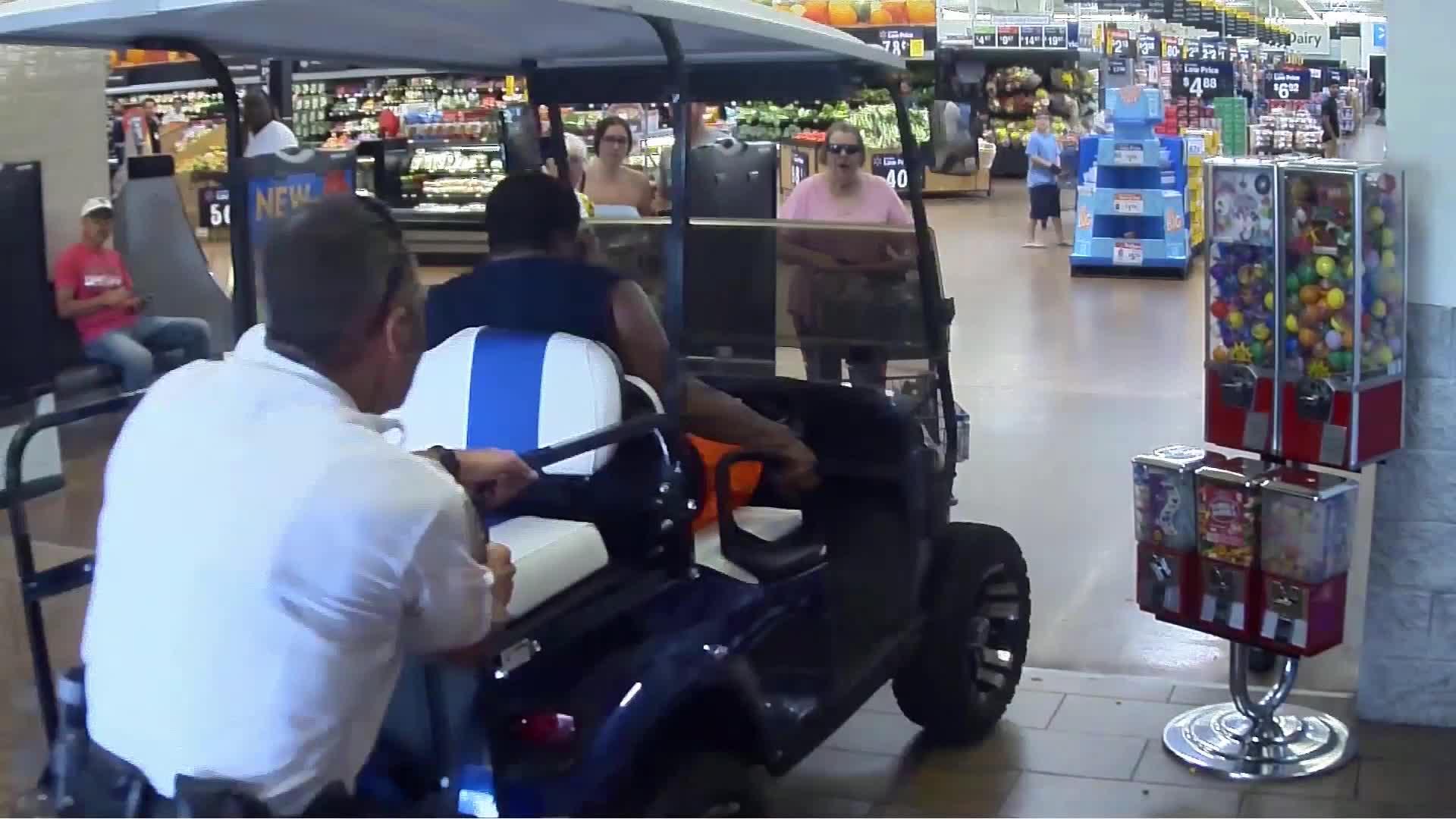 VIDEO: Man drives golf cart into Walmart, hits several