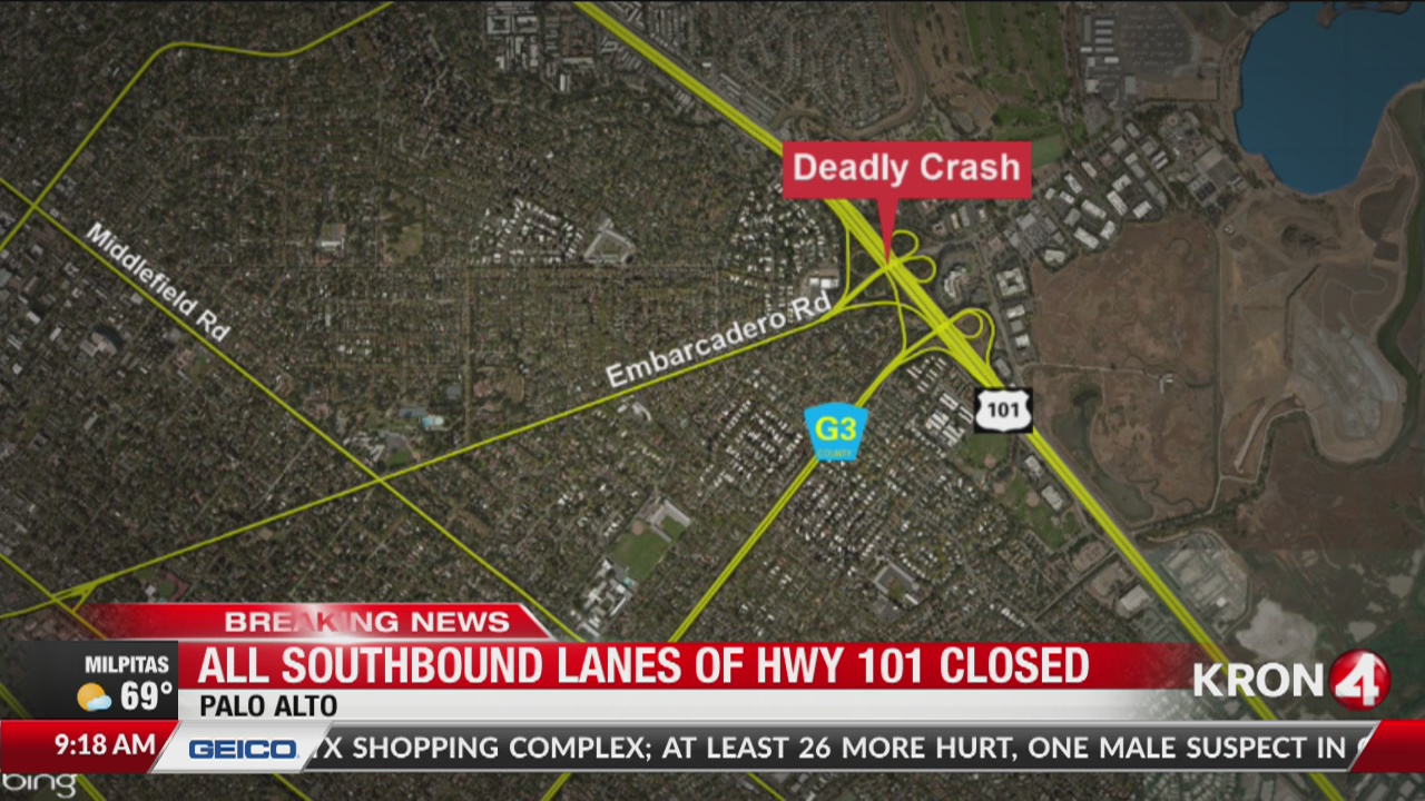 All lanes of Highway 101 in Palo Alto reopen after deadly