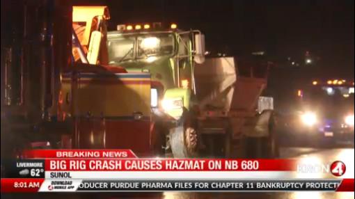 Big rig crash, fuel spill cleanup snarls traffic in Sunol