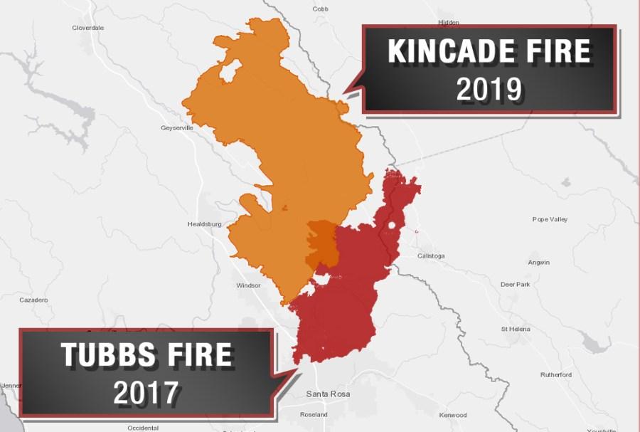 Map Kincade Fire Reaches Burn Scar From 2017 Tubbs Fire Kron4