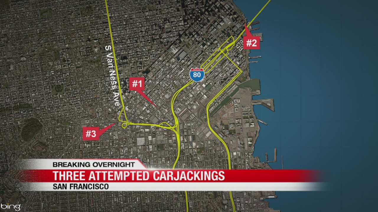 In just 1 hour, 3 attempted carjackings in San Francisco
