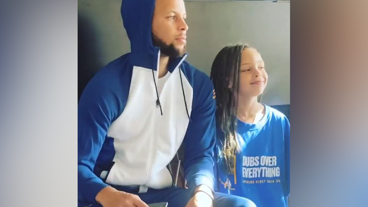Steph Curry and his daughter Riley prove they're twins as they bust identical dance moves in sweet video