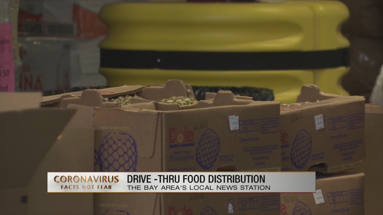 Drive-thru food distribution in South San Francisco today