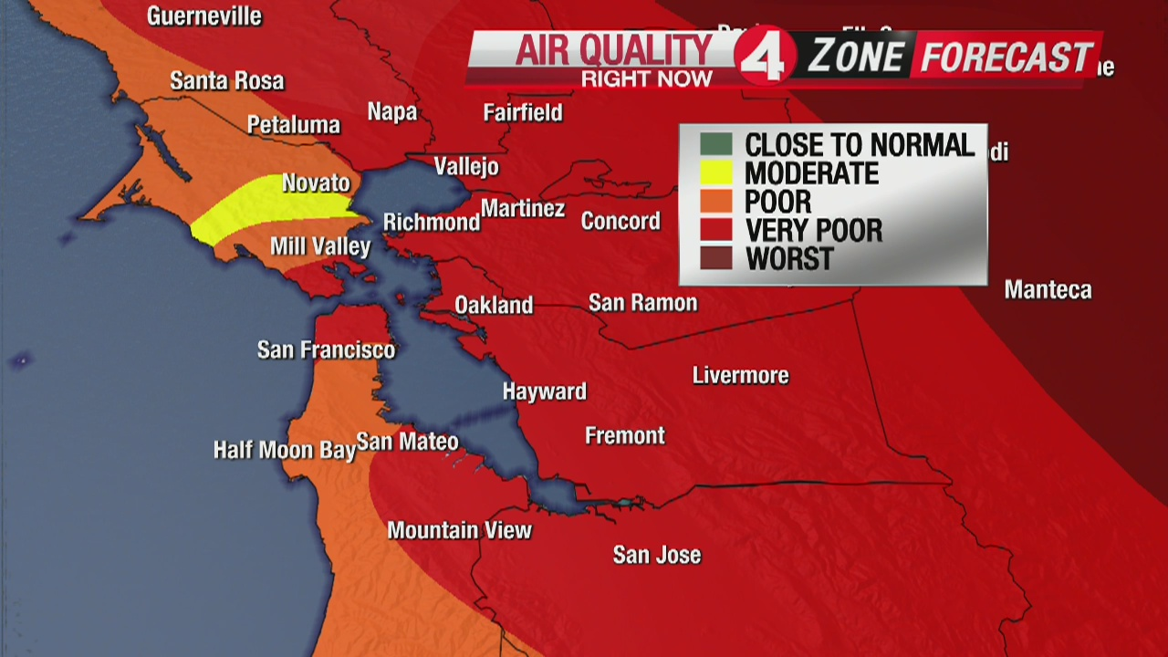 Wildfire Smoke Over Bay Area Extends Spare The Air Alert Through Wednesday Kron4 The map below, updated hourly, shows air quality levels across broad areas in the bay area. air alert through wednesday