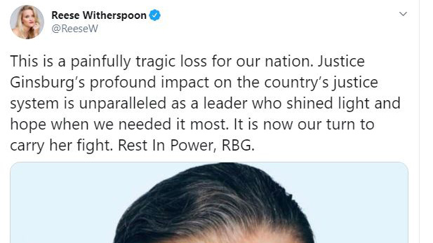 Celebrities react to death of Justice Ruth Bader Ginsburg