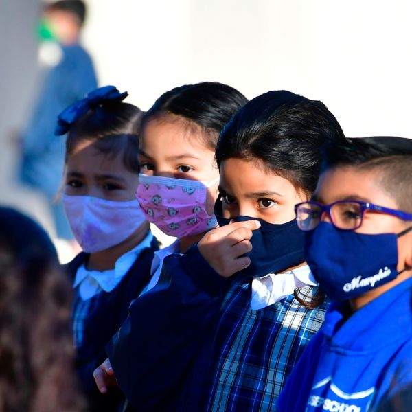 students wearing facemasks