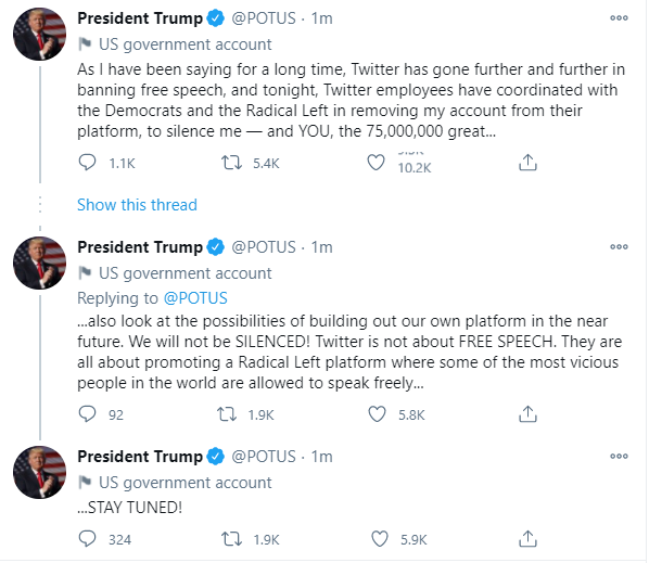 Trump tweets from POTUS account after being banned