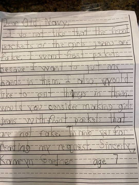 <div>Read Old Navy's response to the 1st grader who asked for girl jeans with real pockets</div>