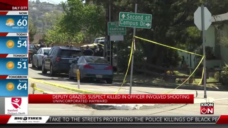 Deputy grazed, suspect killed in officer-involved shooting in Alameda County