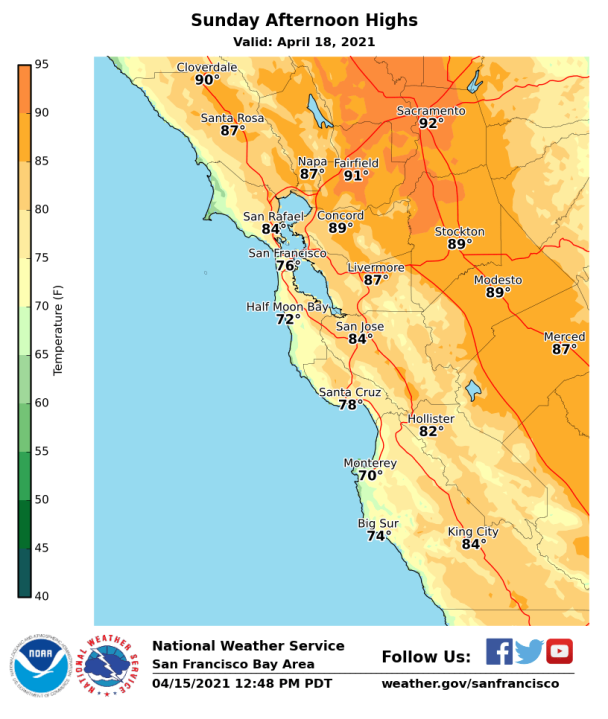 <div>Here's how hot the Bay Area will get this weekend</div>