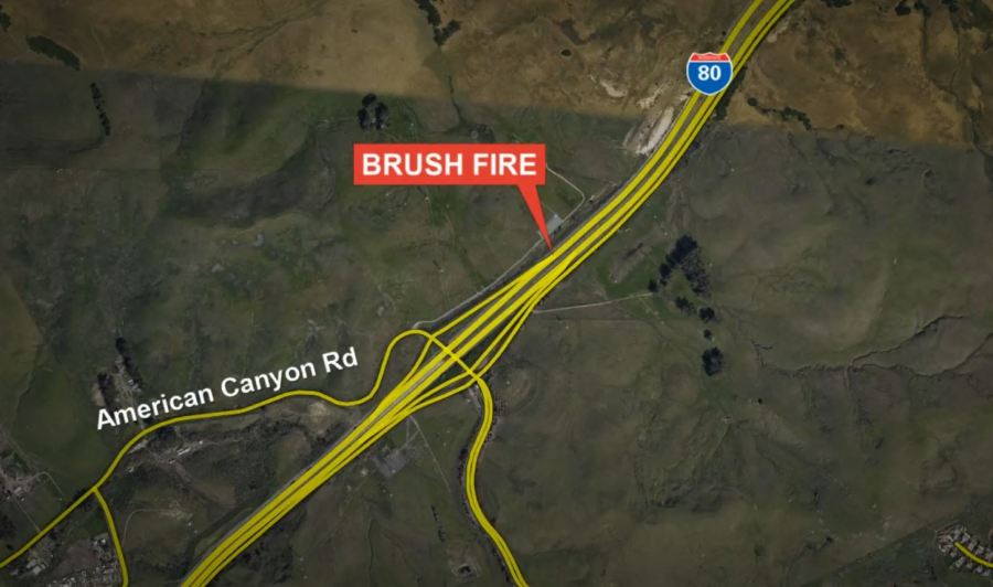 Car fire spreads to grass along I-80 in Solano County