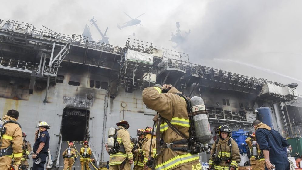 Navy: Sailor suspected of starting fire that destroyed ship on San Diego Bay