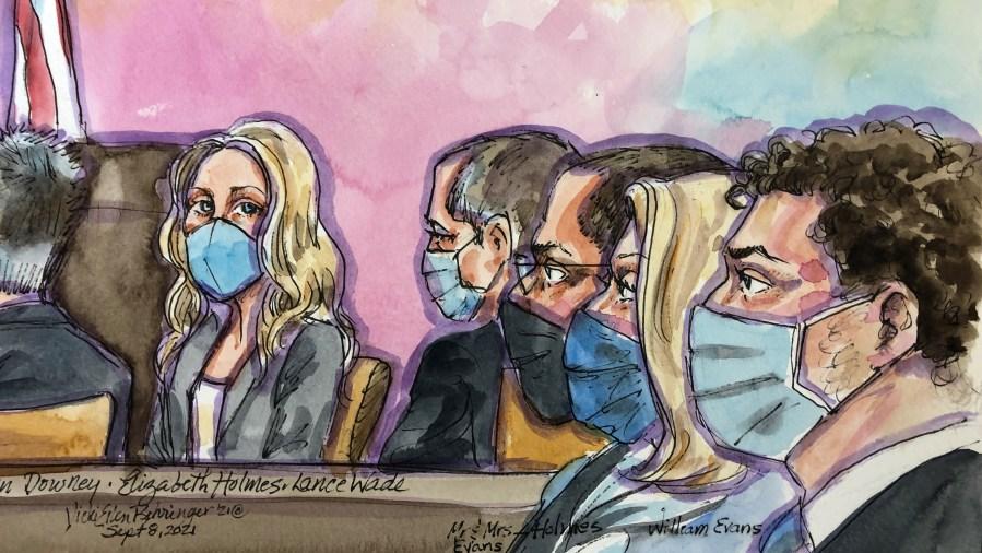 Courtroom sketch of Elizabeth Holmes